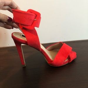 ZARA coral red ankle buckle pumps